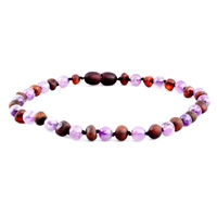 The Amber Monkey Baltic Amber & Gemstone 21-22 inch Necklace - Raw Chestnut Amethyst