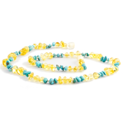 The Amber Monkey Baltic Amber & Gemstone 21-22 inch Necklace - Lemon Turquoise Chips