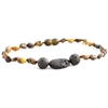 The Amber Monkey Polished Baltic Amber & Aroma Diffusing 10-11 inch Necklace - Green Trio