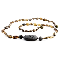 The Amber Monkey Baltic Amber & Aroma Diffusing 26 inch Necklace - Green Trio