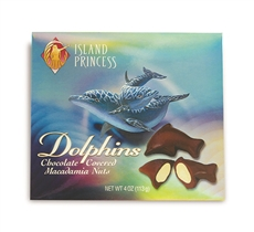 Hawaiian Dolphins Chocolate Covered Whole Mac Nuts 4 oz Gift Box