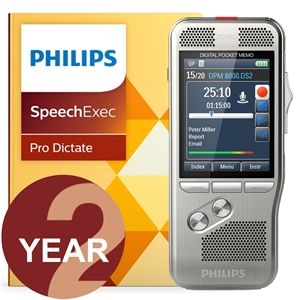 Philips DPM8000 Digital PocketMemo with SpeechExec Pro V11 - 2 Year License