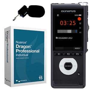 Olympus DS-2600 Digital Voice Recorder with Dragon Professional Individual and ME-12 Noise Cancelling Microphone