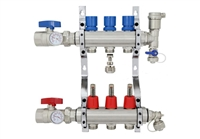 3-branch Brass Radiant Heat Manifold Set