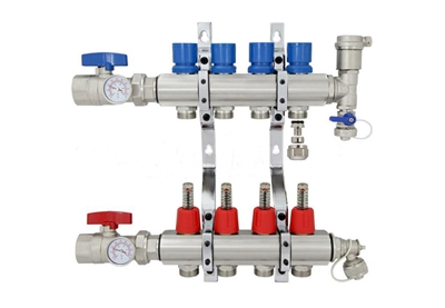 4-branch Brass Radiant Heat Manifold Set