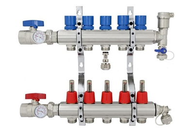 5-branch Brass Radiant Heat Manifold Set