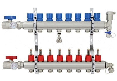 8-branch Brass Radiant Heat Manifold Set