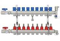 9-branch Brass Radiant Heat Manifold Set