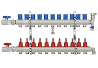 11-branch Brass Radiant Heat Manifold Set
