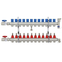 12-branch Brass Radiant Heat Manifold Set
