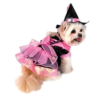 Shiny Pink Witch Halloween Dog Costume