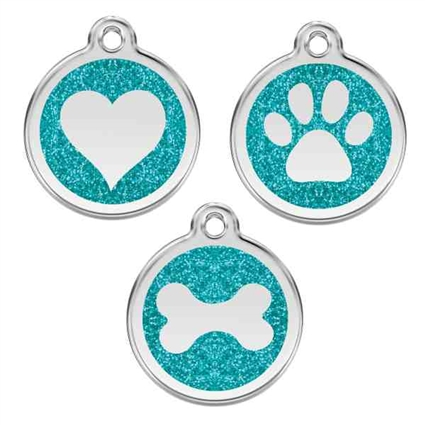 Aqua Glitter Stainless Steel Pet ID Tag