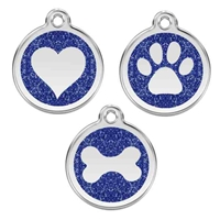 Blue Glitter Stainless Steel Pet ID Tag