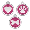 Gold Glitter Stainless Steel Pet ID Tag