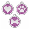 Purple Glitter Stainless Steel Pet ID Tag