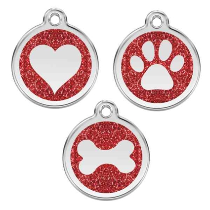 Red Glitter Stainless Steel Pet ID Tag