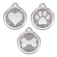 Silver Glitter Stainless Steel Pet ID Tag