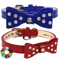 Fancy Bow Luxury Leather Dog Cat Collars