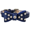 Fancy Bow Leather Small Dog Cat Collar