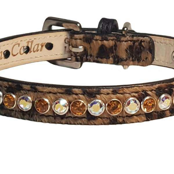 8188e1ae14a3 A leopard print collar made of calf hair and fine leather beautifully  matched with hand set Swarovski Crystals. Choose your crystal colors.