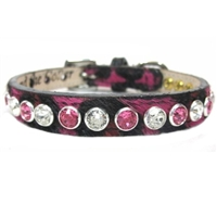 Pink Leopard Leather Bling Dog Cat Collar