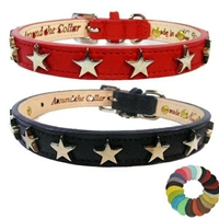 Silver Stars Leather Dog Cat Collars