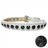 Black and White Bling Leather Dog Collars