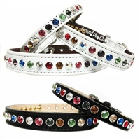 Leather Dog Cat Collars | Crystal Rainbow Bling