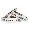 White Rainbow Bling Leather Designer Dog Collars