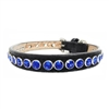 Sapphire Shine Leather Designer Dog Collars