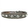 Metallic Silver Leather Designer Dog Collars