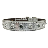 Designer Leather Cat Collars | Metallic Silver Pussycat