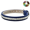 Luxury Leather Designer Dog Cat Collars | Princess Cut Crystal