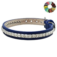 Luxury Leather Dog Cat Collars | Princess Cut Crystal