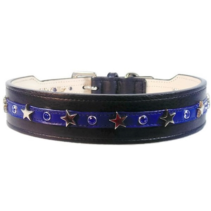 Lieutenant Leather Dog Collar | Police Motif