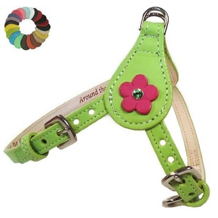 Ellie Flowers Leather Step-In Dog Harness