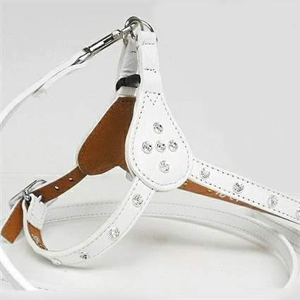 White Leather Step-In Dog Harness with Crystal Bling