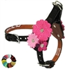 Flowers Custom Leather Dog Harness | Step-in