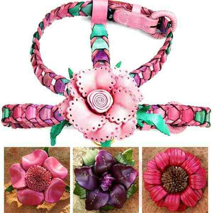 Pink Leather Dog Harness | Botanical Gardens