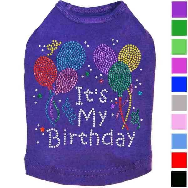 A Fun And Sparkly Dog Shirt For The Birthday Boy Or Girl With Multicolor Rhinestones Nailheads Available In 13 Colors