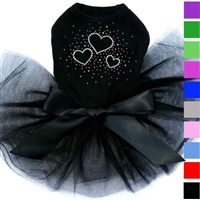 Designer Dog Tutu Dress | Rhinestone Hearts