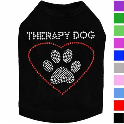Therapy Dog Rhinestone Dog Shirt