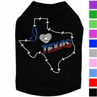 I Love Texas Rhinestone Dog Shirt