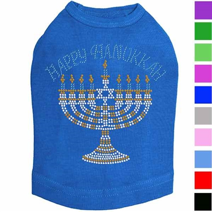 Happy Hanukkah Rhinestone Dog Shirt