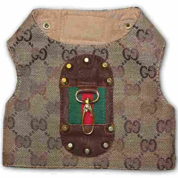 76221fe60 Dress your pooch to the nines with this monogram dog harness made with  Gucci true grade designer fabric. Featuring a red and green stripe with a  brown ...