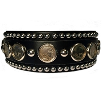 Buffalo Nickel Studded Leather Dog Collar | Martingale