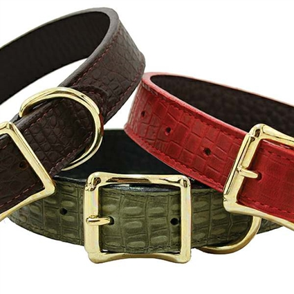 Lizard Embossed Leather Dog Collars