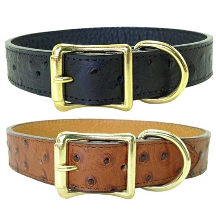 Ostrich Embossed Leather Dog Collars