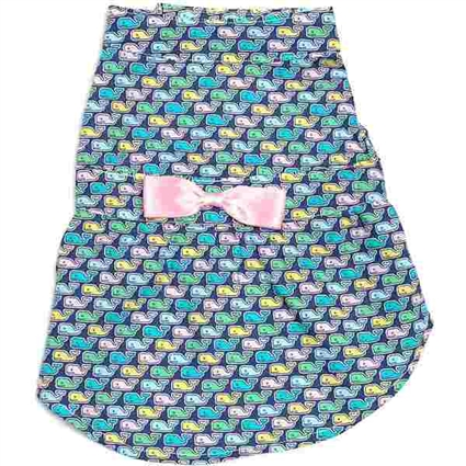 Gingham Whales Dog Dress