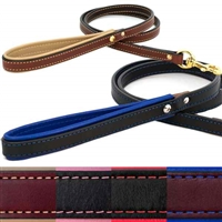 Leather Dog Leash with Padded Handle